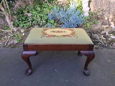 Lovely Antique Mahogany Stool w Tapestry Top!