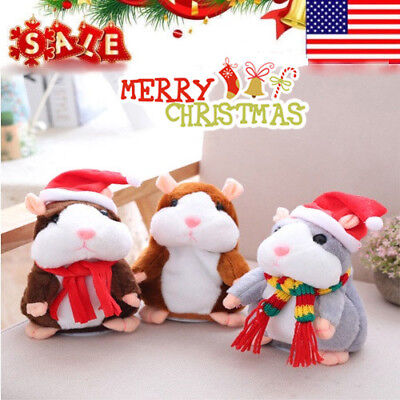 Christmas Talking Hamster Electronic Plush Toy Mouse Pet Sound Cute Gift Kid Toy