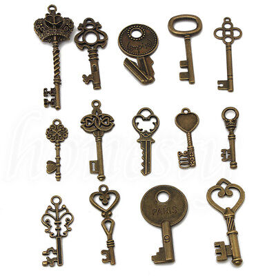 14 Assorted Antique Vintage Old Look Skeleton Keys Bronze Steampunk Pendants