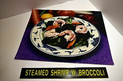 """Chinese Take Out Restaurant """"Steamed Shrimp Broccoli"""" Backlit Poster Picture"""