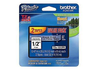 """NEW Genuine BROTHER TZe-1312PK 1/2"""" Black on Clear 12mm P-Touch 2 Tapes SEALED"""