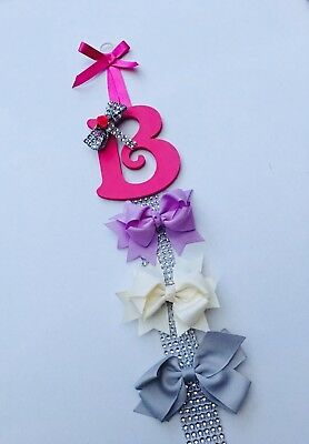 Personalised hair Bow Clip Holder  wooden letters  Girl Name christening gifts