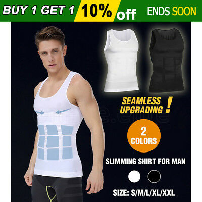 Mens Body Shaper Slimming Slim Body Compression Vest Shirt Belly Tummy Trimmer