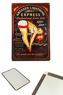 Greased Lightning Pin Up Girl Sign NEW Retro Metal Tin Sign Vintage Decor Garage