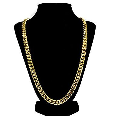 Luxury 24k Gold Plated Cuban Link Chain Necklace For Men + Gift Case 27inch
