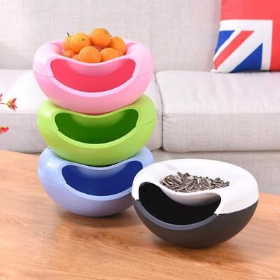 Portable Double Layer Plastic Fruit Plate Phone Holder Candy Snack Container