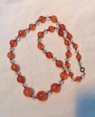 Deco carnelian agate goldfish colour with silver clasp & crystal bead necklace