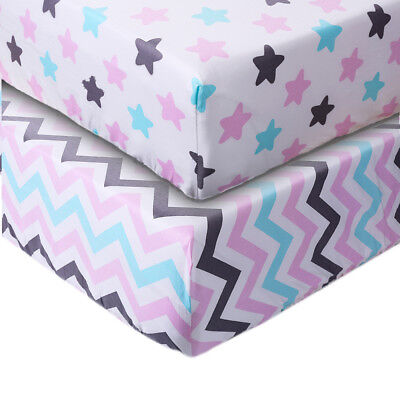 Crib Sheet UOMNY 100% Cotton Baby Coverlet for Baby Girl Boy 2 Pack(Blue/Pink)