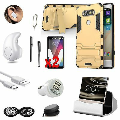 Gold Kickstand Case Cover Charger Wireless Headset Accessory Bundle For LG V20