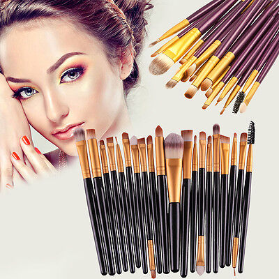 20 tlg Professionelle Kosmetik Pinsel Makeup Brush Schminkpinsel Set mit Etui