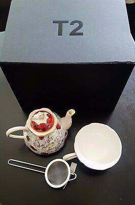 T2 Tea pot, Tea cup and Tea strainer. Brand new in box.