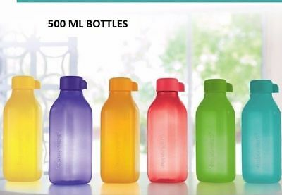 NEW TUPPERWARE 500 ML Square Set of 2 WATER BOTTLES ECO EASY MULTI COLOR