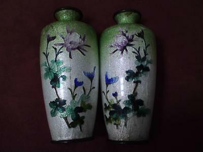 Pair Antique Japanese Meiji Ginbari lime green Cloisonné Vases Chrysanthemums af
