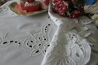 Pretty Vintage Embroidered Flowers White cut work Tablecloth Cotton Table Linens