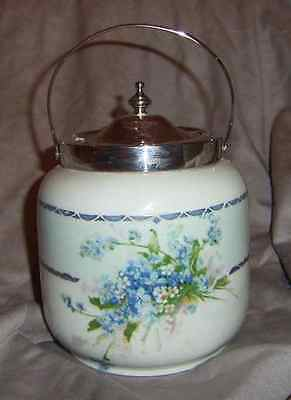 Antique Porcelain Bisquit Barrel, Epns Lid And Handle, Very Pretty, Collectable