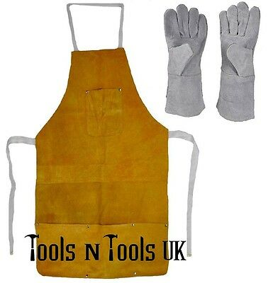 Set of Pure Leather Heat Resistant Safety Apron & Gloves Weld Melting Refining