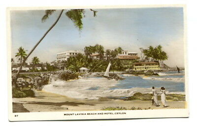 "Ceylon early 20th Century unused colour PPC ""Mount Lavinia Beach and Hotel"""