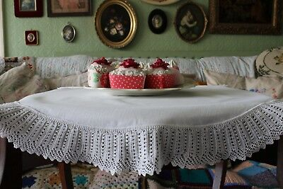 "Antique Round Tablecloth Filet Lace Crochet Trim  24"" inches"