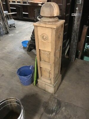 Antique Oak Newel Post Ornate Panel Work Stairway Newel Post 2 Available