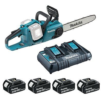 Makita Chainsaw Kit; DUC353Z w/ 4x 5Ah Batteries & Twin Port Charger