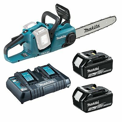 Makita Chainsaw Kit; DUC353Z w/ 2x 5Ah Batteries & Twin Port Charger