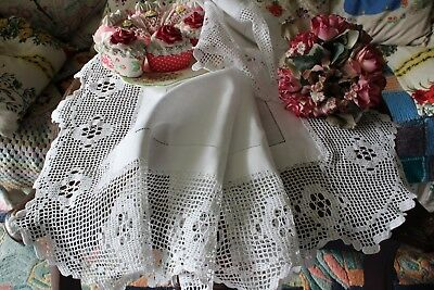 "Antique Linen Tablecloth Filet Lace Crochet Trim 33"" x 35"" inches"