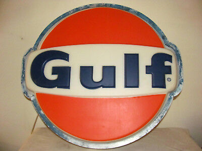 """Vintage GULF SIGN WITH LIGHT  Original 25 1/2"""" With METAL FRAME."""