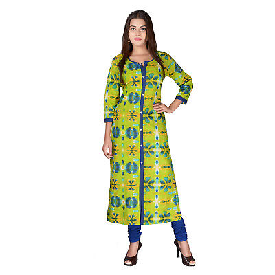 Green Printed Straight Cotton Kurta Indian Kurti Designer Dress Women Top Tunic