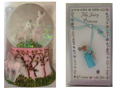 1 x SNOWGLOBE Waterball With UNICORNS Inside & 1 x FAIRY DUST Necklace BLUE GIFT