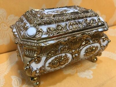 Vintage Footed Metal Ornate Gold Scroll  Jewelry Box w/ Wind Up Music Box