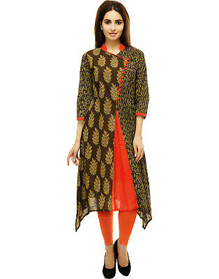 Brown Paisley Print Straight Cotton Kurta Indian Kurti Dress Women Top Tunic