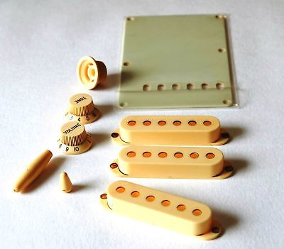 Aged Parts Set  Knobs Pickup Cover Tip Set Backplate Ivory fits to Strat ®
