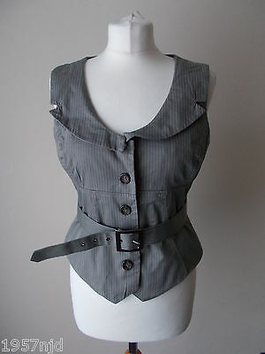 Women's Brown Stripe Collared Belted Waistcoat By Cue Size 12