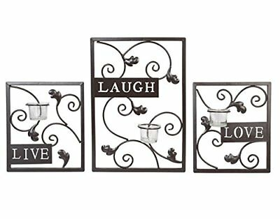HosleySet of Three Dark Brown Iron T-Lite Wall Sconce - Laugh, Love, Live; by