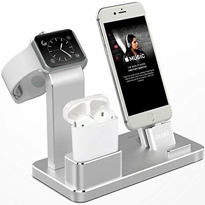 3 in 1 Aluminum Charging Dock Stand for iWatch Series iPhone & AirPods Silver
