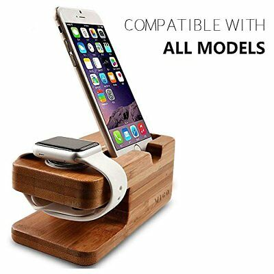 2 in 1 Charging Dock Bamboo Stand for iWatch 42mm & 38mm & iPhone X / 8 / 7 Plus