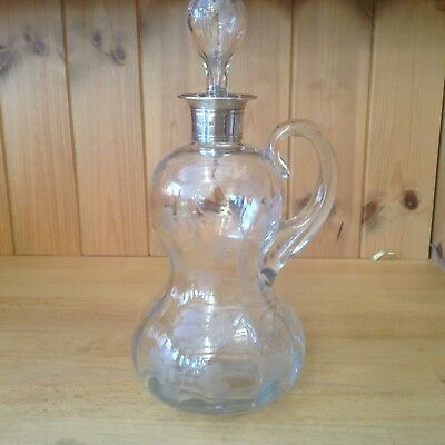 Antique Etched Glass Decanter With Solid Sterling Silver Sheffield 1900 Collar