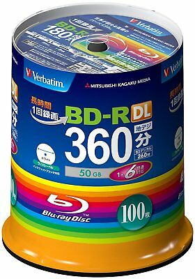 Mitsubishi Verbatim Blu-ray BD-R DL 50GB 6x Recordable Disc, 100-Disc Spindle