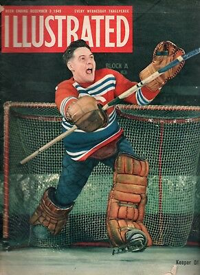 Illustrated December 3 1949 Ice Hockey Front Cover And Article