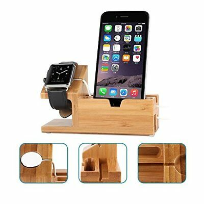 Lightweight & Portable Charging Dock Bamboo Wood Stand f/ iWatch & All QI iPhone