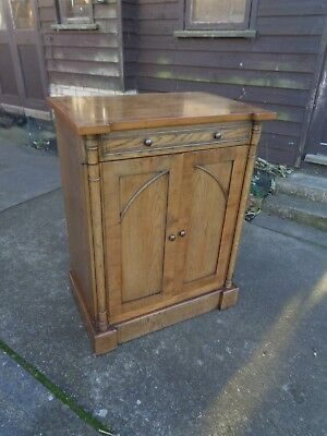 Antique Style Oak And Yew  Hall Bookcase Tv Cabinet Cupboard