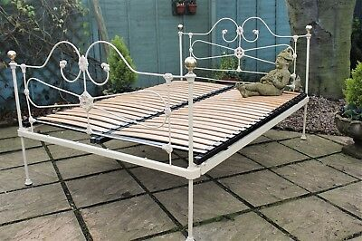Pretty Victorian Cast Iron Double Bed Painted Ivory