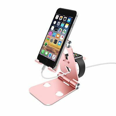 Aluminum Charging Dock Stand f/ All Android iWatch 38mm 42mm Tablet 12.9'' Rose