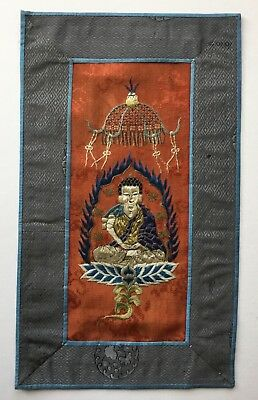 Antique Chinese Silk Hand Embroidered Panel Of Buddha.