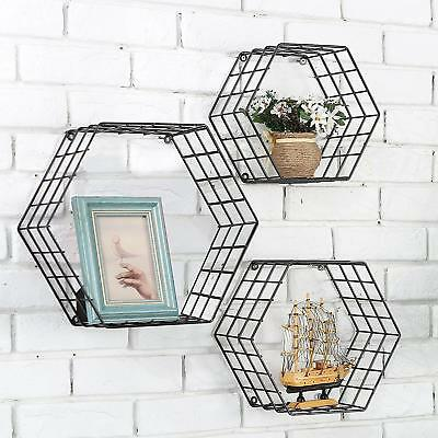 Metal Wire Hexagon Design Wall Mounted Floating Shelves Set of 3 Black USA