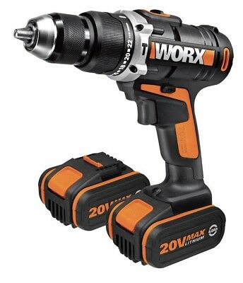 Worx 20V Li-ion Cordless Combi Drill with 2 Batteries WX372.7
