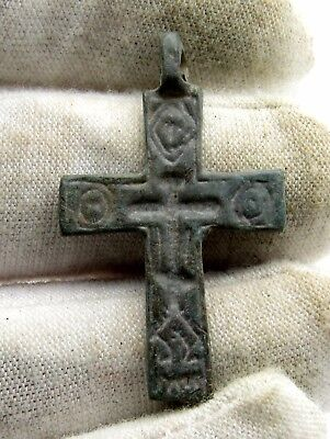 Late / Post Medieval Bronze Cross Pendant - Rare Artifact Superb - Q50