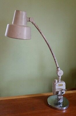Vintage Mid Century Industrial Ajusco Shop Lamp with Outlet & Chrome Base