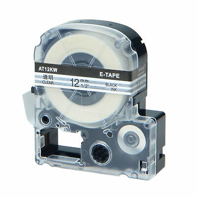 1/2'' for Epson/K-SUN LC-4TBN/ST12KW Black on Clear Label Tape 12mm*8m for LW300
