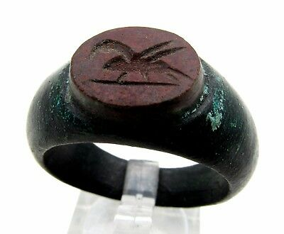 Roman Ring W/  Red Stone W/ Pegasus - Wearable - Rare - Q63